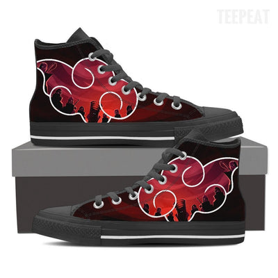 TEEPEAT Shoes Womens High Top / Black / US6 (EU36) Akatsuki Team Red Sky High Top Canvas Shoes