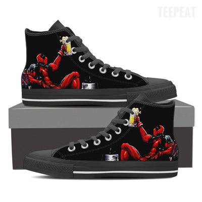 TEEPEAT Shoes Womens High Top / Black / US6 (EU36) Deadpool Boozed High Top Canvas Shoes
