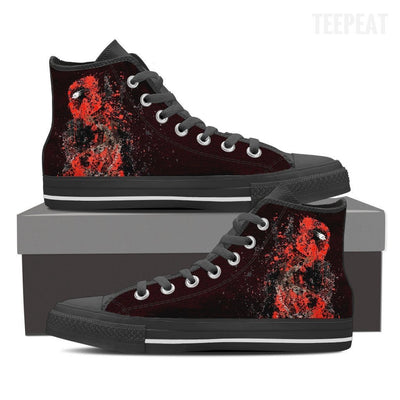 TEEPEAT Shoes Womens High Top / Black / US6 (EU36) Deadpool Splatts High Top Canvas Shoes