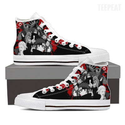 TEEPEAT Shoes Womens High Top / White / US6 (EU36) Akatsuki Popped Up High Top Canvas Shoes
