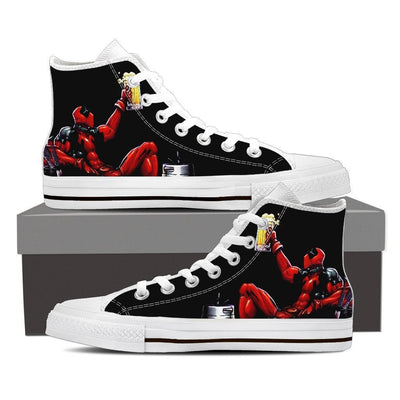 TEEPEAT Shoes Womens High Top / White / US6 (EU36) Deadpool Boozed High Top Canvas Shoes
