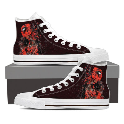 TEEPEAT Shoes Womens High Top / White / US6 (EU36) Deadpool Splatts High Top Canvas Shoes