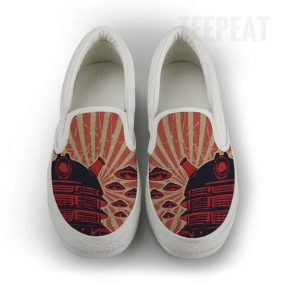 TEEPEAT Shoes Womens Slip On / White / US6 (EU36) Dalek Poster Women Slip-On Canvas Shoes