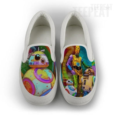 TEEPEAT Shoes Womens Slip On / White / US6 (EU36) Droid Retro Women Slip-On Canvas Shoes