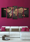 World Map Painting - 5 Piece Canvas