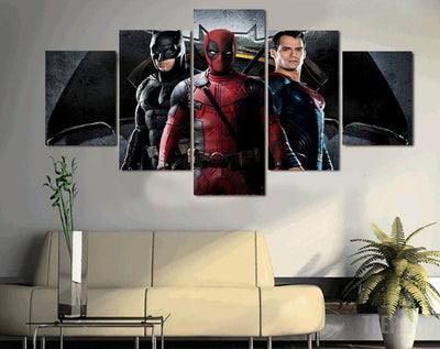 xu zhenchun Canvas B-man Vs S-man and Deadpool - 5 Piece Canvas Painting LIMITED EDITION