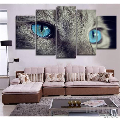 xu zhenchun Canvas Cat Eye Painting - 5 Piece Canvas