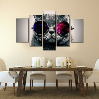 xu zhenchun Canvas Cat With Glasses - 5 Piece Canvas Painting