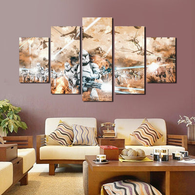 xu zhenchun Canvas Clone Wars Painting - 5 Piece Canvas