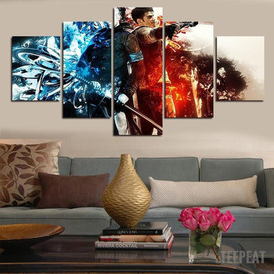 xu zhenchun Canvas Dante and Vergil Painting - 5 Piece Canvas
