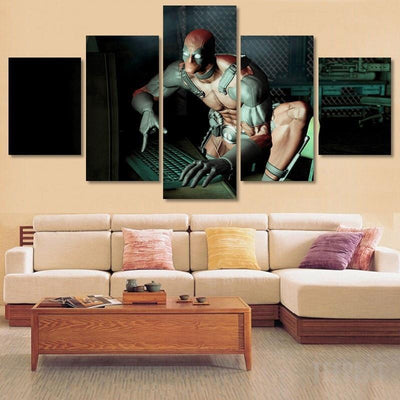 xu zhenchun Canvas Deadpool and Computer Painting - 5 Piece Canvas LIMITED EDITION