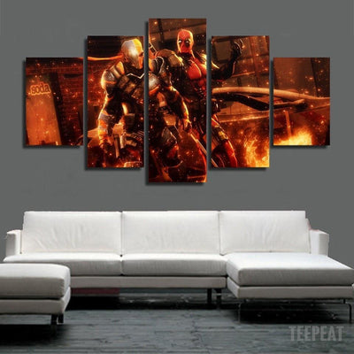 xu zhenchun Canvas Deadpool vs Deathstroke Painting - 5 Piece Canvas LIMITED EDITION