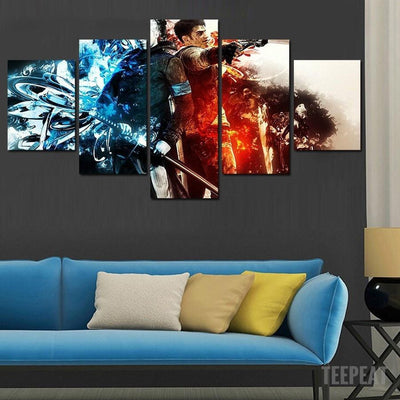 xu zhenchun Canvas Large / Unframed Dante and Vergil Painting - 5 Piece Canvas