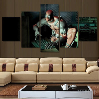 xu zhenchun Canvas Large / Unframed Deadpool and Computer Painting - 5 Piece Canvas LIMITED EDITION