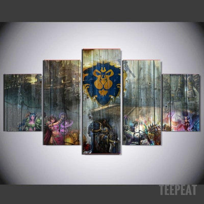 xu zhenchun Canvas Medium / Unframed Alliance Painting - 5 Piece Canvas