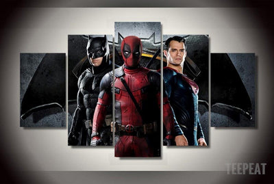 xu zhenchun Canvas Medium / Unframed B-man Vs S-man and Deadpool - 5 Piece Canvas Painting LIMITED EDITION