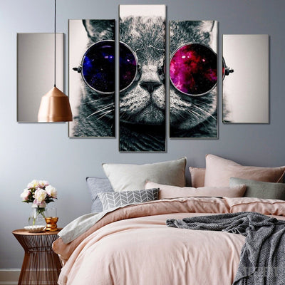 xu zhenchun Canvas Medium / Unframed Cat With Glasses - 5 Piece Canvas Painting