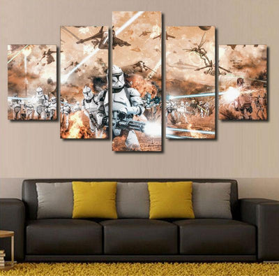 xu zhenchun Canvas Unframed / Medium Clone Wars Painting - 5 Piece Canvas