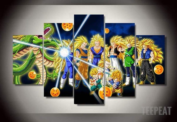 dbz super saiyans 5 piece canvas empire prints. Black Bedroom Furniture Sets. Home Design Ideas