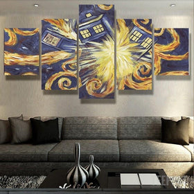 xu zhenchun Canvas Unframed / Medium Doctor Who Van Gogh - 5 Piece Canvas Painting