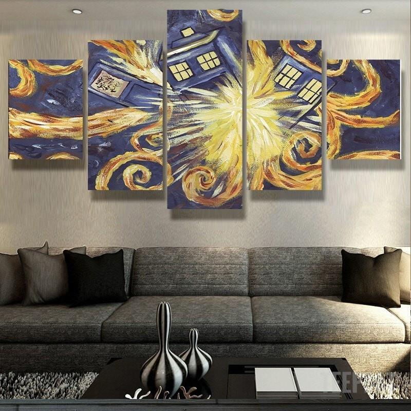 Doctor Who Van Gogh - 5 Piece Canvas Painting
