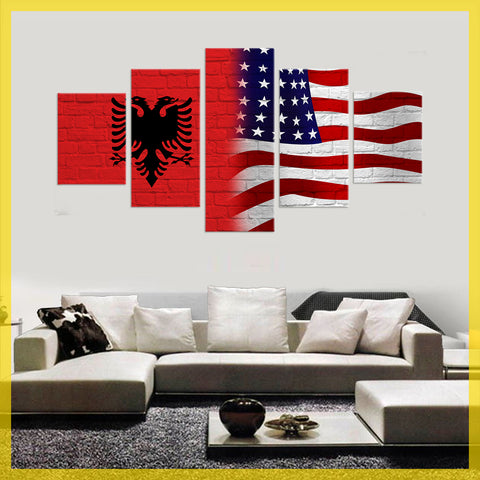 HD PRINTED LIMITED EDITION ALBANIAN (ALBANIA)  AMERICAN FLAG CANVAS