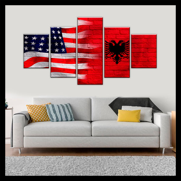 HD PRINTED LIMITED EDITION AMERICAN - ALBANIAN (ALBANIA) FLAG CANVAS