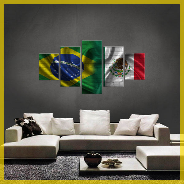HD PRINTED LIMITED EDITION 5 PIECE  BRAZIL MEXICO CANVAS