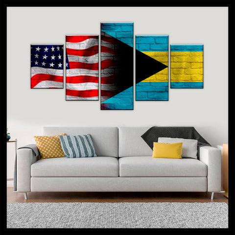 HD PRINTED LIMITED EDITION AMERICAN - BAHAMIAN (BAHAMAS) FLAG CANVAS