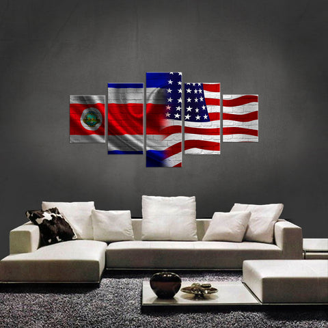 HD PRINTED LIMITED EDITION NEW COSTA RICAN (COSTA RICA) AMERICAN  FLAG CANVAS