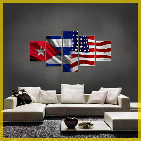 HD PRINTED LIMITED EDITION 5 PIECE CUBAN (CUBA) AMERICAN CANVAS