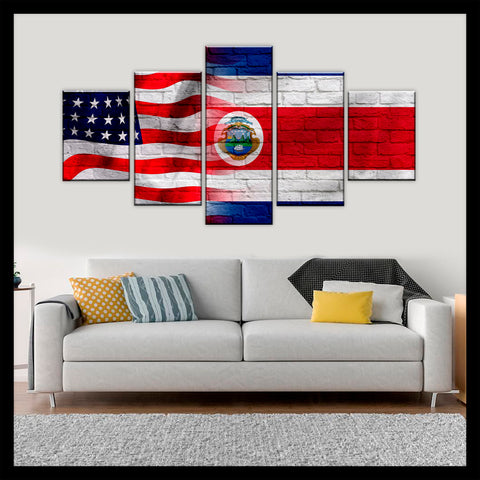 HD PRINTED LIMITED EDITION AMERICAN - COSTA RICAN (COSTA RICA) FLAG CANVAS