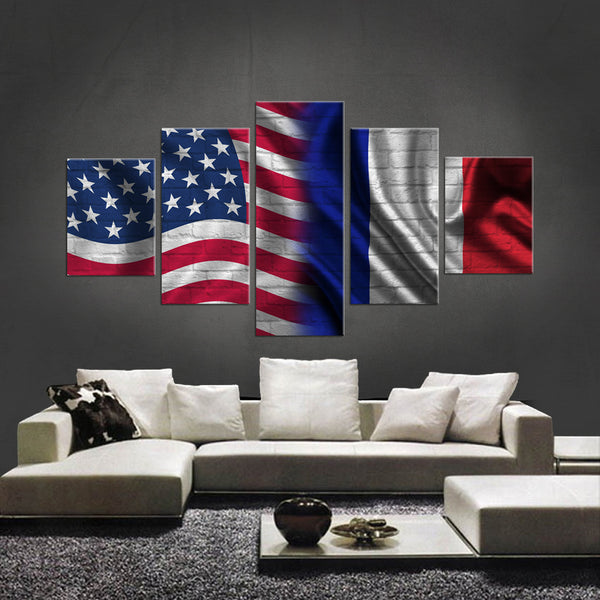 HD PRINTED LIMITED EDITION 5 PIECE AMERICAN - FRENCH (FRANCE) CANVAS