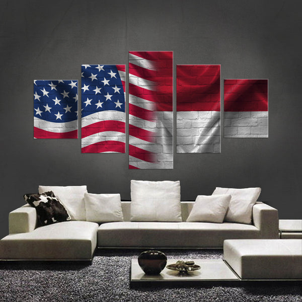 HD PRINTED LIMITED EDITION 5 PIECE AMERICAN - INDONESIAN (INDONESIA) CANVAS