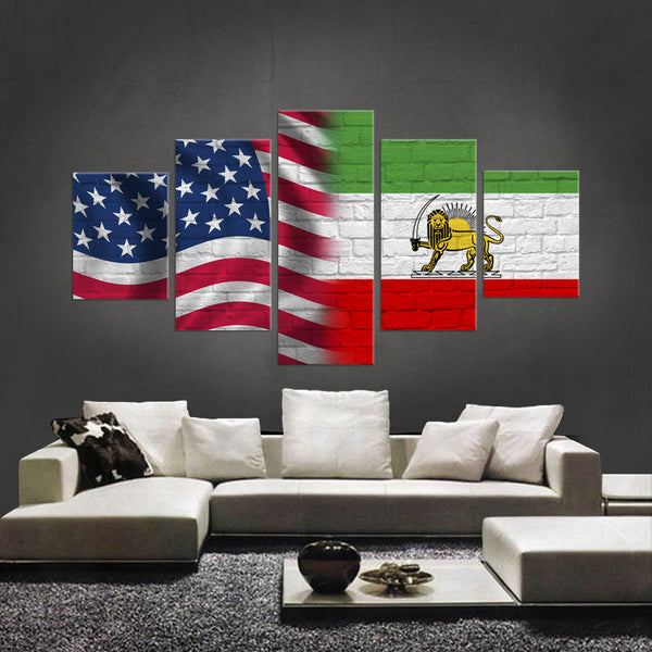 HD PRINTED LIMITED EDITION 5 PIECE AMERICAN - IRANIAN (IRAN) CANVAS