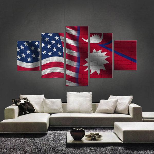HD PRINTED LIMITED EDITION 5 PIECE AMERICAN - SRI LANKAN (SRI LANKA) CANVAS - NEW DESIGN