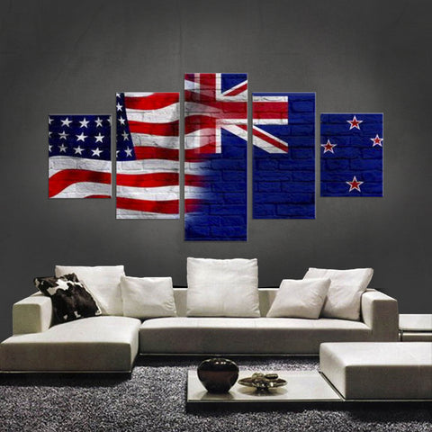 HD PRINTED LIMITED EDITION 5 PIECE AMERICAN - NEW ZEALANDER (NEW ZEALAND) CANVAS