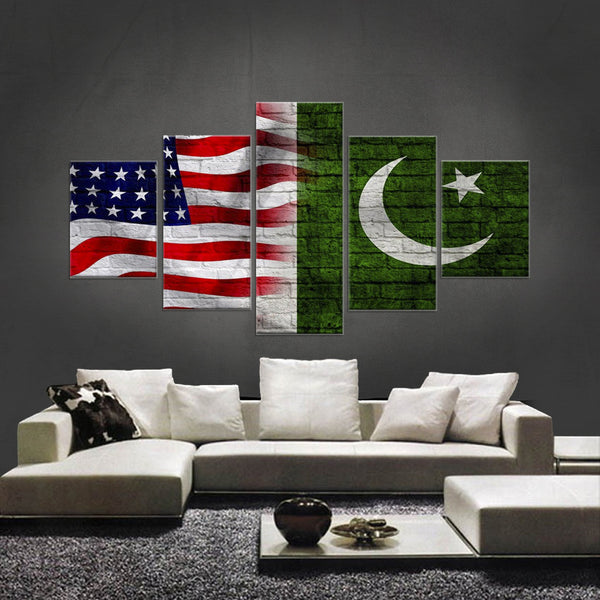 HD PRINTED LIMITED EDITION 5 PIECE AMERICAN-PAKISTANI ( PAKISTAN) CANVAS