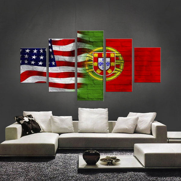 HD PRINTED LIMITED EDITION 5 PIECE AMERICAN - PORTUGUESE (PORTUGAL) CANVAS