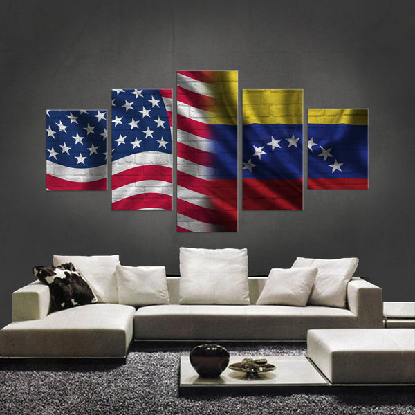 HD PRINTED LIMITED EDITION 5 PIECE AMERICAN - VENEZUELAN (VENEZUELA) CANVAS - NEW DESIGN