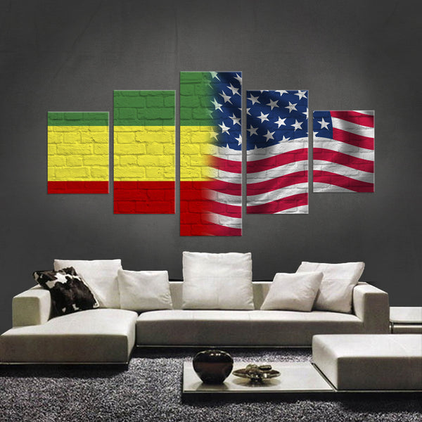 HD PRINTED LIMITED EDITION 5 PIECE NEW ETHIOPIAN AMERICAN CANVAS