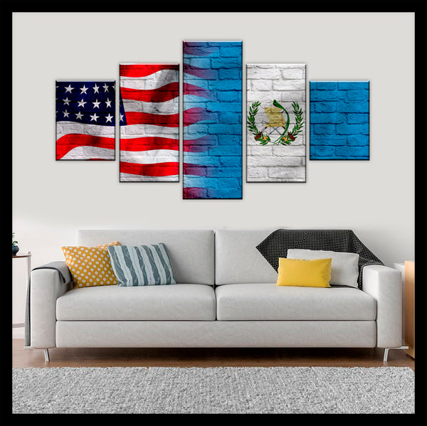 HD PRINTED LIMITED EDITION AMERICAN - GUATEMALAN (GUATEMALA) FLAG CANVAS