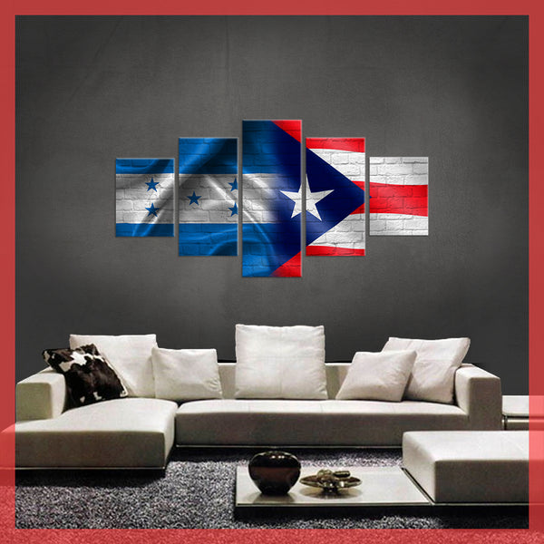 HD PRINTED LIMITED EDITION 5 PIECE HONDURAS PUERTO RICO CANVAS