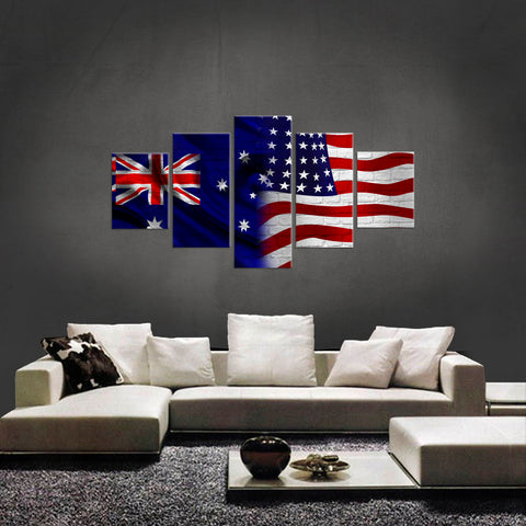 HD PRINTED LIMITED EDITION 5 PIECE AUSTRALIAN - AMERICAN (AUSTRALIA) CANVAS