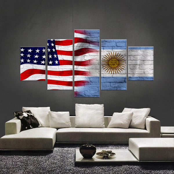HD PRINTED LIMITED EDITION 5 PIECE AMERICAN - ARGENTINE (ARGENTINA) CANVAS