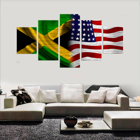 HD PRINTED LIMITED EDITION JAMAICAN (JAMAICA) AMERICAN  FLAG CANVAS