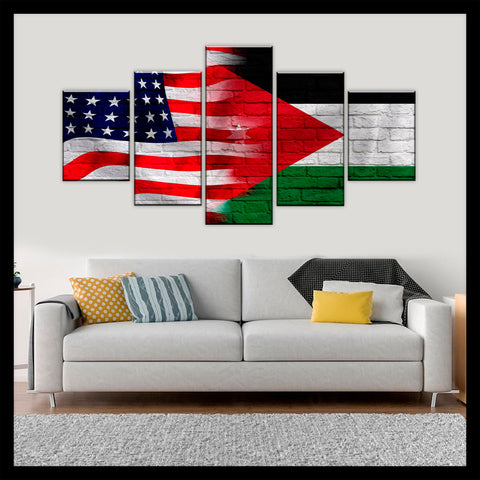 HD PRINTED LIMITED EDITION AMERICAN - JORDANIAN  (JORDAN) FLAG CANVAS