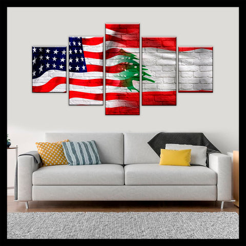 HD PRINTED LIMITED EDITION AMERICAN - LEBANESE (LEBANON) CANVAS