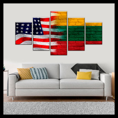HD PRINTED LIMITED EDITION AMERICAN - LITHUANIAN (LITHUANIA) FLAG CANVAS
