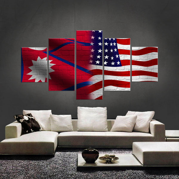 HD PRINTED LIMITED EDITION NEPALESE AMERICAN 5 PIECE  CANVAS